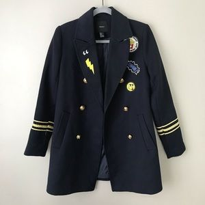 Forever 21 navy patch embellished military peacoat